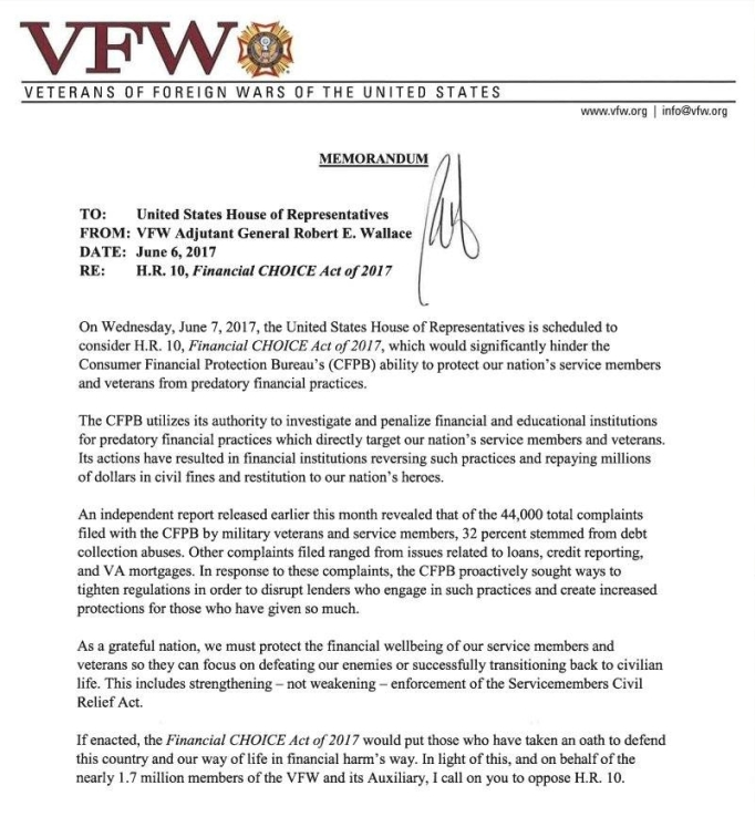vfw letter on cfpb